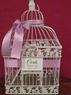 White #BirdcageCardBox With Lavender Ribbon ~ #Quinceaneracardholder  Fully customizable  You pick colors http://www.artfire.com/ext/shop/product_view/TheWeddingDecorPlace/9788753/white_birdcage_card_box_with_lavender_ribbon__wedding_card_holder/handmade/wedding/decorations/other