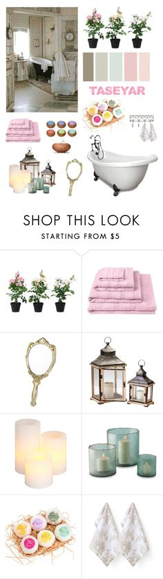"""Taseyar Bathroom"" by ioakleaf ❤ liked on Polyvore featuring interior, interiors, interior design, home, home decor, interior decorating, Shabby Chic, Designers Guild, Once Upon a Time and Gerson"