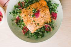 Microgreen Watermelon Radish Salad Over Oven Baked Salmon