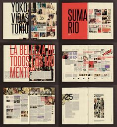 Experimental typographic layouts. Not a big fan but there's nice use of colour as well.