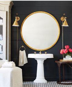 Large round mirror for powder room White Bathroom, Small Bathroom, Mirror Bathroom, Master Bathroom, Bathroom Ideas, Guest Bathrooms, Wall Mirror, Better Bathrooms, Black Bathrooms