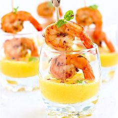 These grilled shrimp and mango puree shooters are easily prepared ahead and chilled, making them perfect for any party.