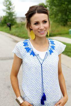 Embroidered blouse, dark denim, wedges