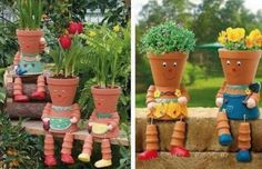 "Clay Pot Flower People ~ watch the video on how to make these cute ""people"""