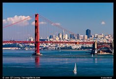 Golden Gate Bridge with city skyline, afternoon, San Francisco