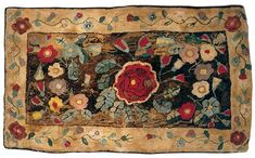 New England Hearth Rug, With stylized and realistic flowers and leaves within a wide border of serpentine floral vines. Burnished colors and velvety texture as befits its age. 2nd quarter of the 19th century. Height: 4 feet, 5 inches, Width: 7 feet, 8 inches...Of sheer gorgeousness! :o)
