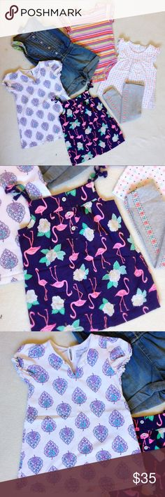 2T wardrobe bundle! Lot of cute 2T warm weather clothes. Denim jumper with floral trim, white dress with purple design pattern, navy tunic tank with pink flamingos, a bright and colorful rainbow striped onesie, and a top and leggings matching set in gray, white, and neon pink patterns. All in great condition! Shirts & Tops