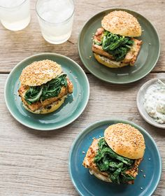 Topping these miso tofu burgers with lightly sautéed greens adds a colorful finish that is both delicious and nutritious. Egg Free Recipes, Veggie Recipes, Vegetarian Recipes, Healthy Recipes, Tofu Burger, Meatless Burgers, Gourmet Cooking, Cooking Recipes, Healthy Snacks