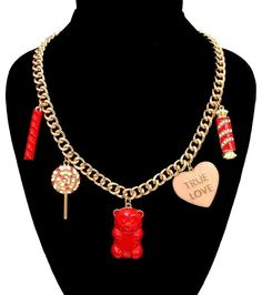 New Red Crystal Candy Lollipop Gummy Bear Sweets Charm Statement Bling Necklace  #Unbranded