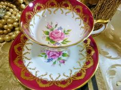 AYNSLEY FANCY TEA CUP AND SAUCER RED BAND WITH HP PINK ROSES LUSH GOLD c1950s