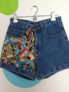 High Waisted Jean Shorts with Comic Book Fabric. $30.00, via Etsy.