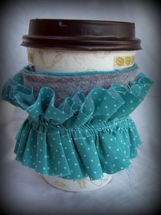 #ruffle coffee cozy