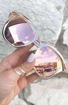 "rose gold sunglasses,  ""Candy"" Sunnies, TopFoxx sunglasses, women's reflective mirrored eyewear, pink sunglasses"