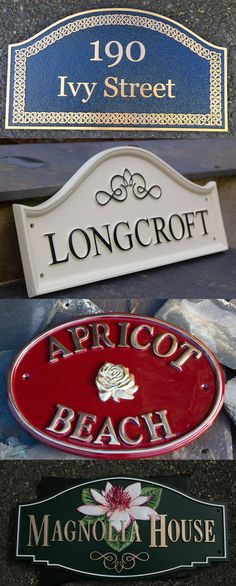 Cast House Signs from The Sign Maker. We have several ranges of cast house signs. The cast bronze is the most expensive but really does look exclusive. The cast brass is the most popular. The biggest range is the cast polyurethane which has the advantage of crisper text and images as well as being very tough and durable. It does not corrode either. By now from our online shop. Door Name Plates, Name Plates For Home, Metal House Signs, Sign Maker, Magnolia Homes, Metal Homes, Metal Casting, Door Signs, Ranges