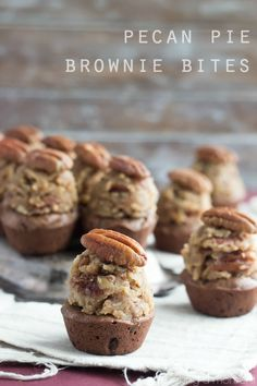 Pecan Pie Brownie Bites- A super-fudgy brownie topped with a bourbon pecan pie filling.  Perfect for a party!