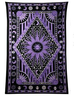 Jaipur Handloom Purple Burning Sun Tapestry, Celestial Sun Moon Planet Bohemian Tapestry Tapestry Tapestry Wall Hanging Tapestry Hippie Tapestry Beach Coverlet (Twin X 84 inches Approx, Purple) Purple Tapestry, Sun And Moon Tapestry, Tie Dye Tapestry, Dorm Tapestry, Tapestry Beach, Indian Tapestry, Bohemian Tapestry, Mandala Tapestry, Tapestries