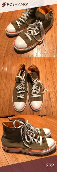 Converse hi-tops in army green size 7. Converse hi-tops in army green with orange interior and details. Size 7. Converse Shoes Sneakers
