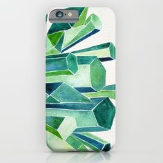 Emerald Watercolor iPhone & iPod Case