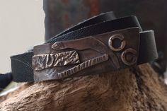 #12 - Leather Bracelet - sterling layered decoration