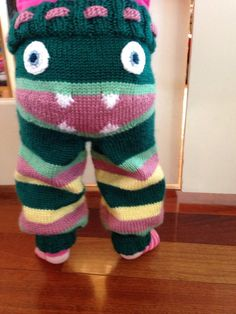 Yellow, pink and teal knit  Monster Pants on Etsy, $69.00