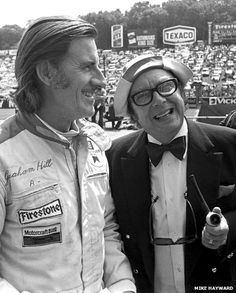 There was lots of laughter on the grid at Brands Hatch before the start of the 1974 British Grand Prix with a visit from comedian Eric Morecambe. Here he poses for the camera beside Graham Hill who was driving an Embassy Lola Ford. Graham qualified way down the grid in 22nd place and eventually finished 13th.