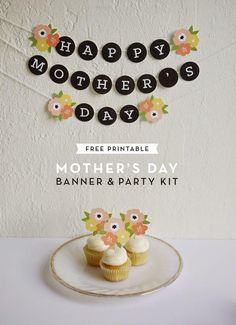 Mother's Day Free Printable Banner and Party Kit Happy Mothers Day Banner, Mothers Day Decor, Mothers Day Brunch, Mothers Day Crafts, Mother Day Gifts, Party Kit, Mother's Day Banner, Gold Banner, Diy Banner