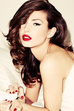 red lips. eye liner. red nails i love the white with red color pop