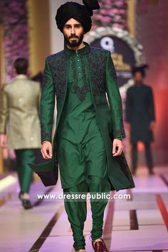 Emerald Green Sherwani Style for Mehndi Groom, Henna Night Groom. Designer Shalwar Kameez for Men, Man's Embroidered Kurta Pajamas, Kurta Salwar Kameez, and Plain Shalwar Kameez Styles with Bespoke Tailoring and Worldwide Delivery. Punjabi Kurta Pajama Men, Kurta Men, Indian Groom Dress, Wedding Dresses Men Indian, Indian Wear, Sherwani Groom, Wedding Sherwani, Blue Sherwani, Punjabi Wedding