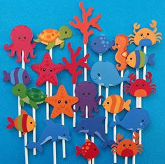 Sea Life Cupcake toppers, Ocean cupcake toppers, Under the sea cupcake toppers, sea creatures toppers, sea life theme party, Ocean party These happy sea creatures will add so much fun to your party. They can be displayed on cupcakes, cakes, etc. Really cheerful colors and sweet faces! ♥