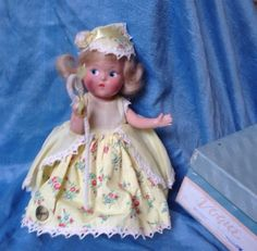 """Vintage 1945-49 Vogue Doll 8"""" Ginny or Toodles Painted Eye Compo Bo-Peep in BOX #DollswithClothingAccessories"""