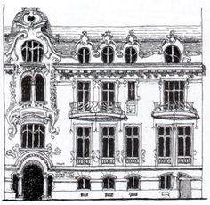 I always loved this drawing of an art nouveau townhouse.