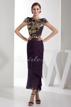 Trumpet/Mermaid Bateau Ankle-length Short Sleeve Satin Dress - $102.99