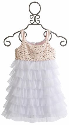 La Piccola Danza Pink Satin Beaded Bodice Ruffle Dress (2T,5,6)