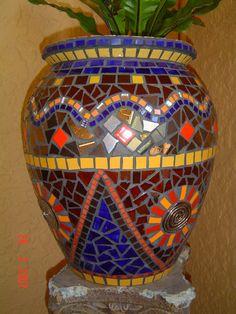 Old mosaic garden pot