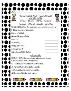 These are review sheets of Grammar and Vocabulary for Unit 3 of Grade 3 of McGraw-Hill Wonders. There are three review sheets for each of the five weeks. These are great for homework, morning work, centers, or even for intervention blocks. I am using them for Homework this year.
