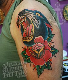 panther, black panther, rose, old school, traditional, montijo, portugal, tattooportugal, europe, tattoolife, tattoo Tattoo Flash, Black Panther, Tattoo Studio, Old School, Portugal, Europe, Traditional, Tattoos, Irezumi