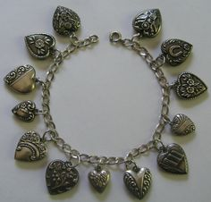 "Vintage 1940s Sterling Silver Puffy Heart Charm Bracelet 13 Hearts 7 5"" - 525usd"