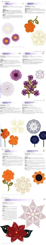 Free crochet flower motif diagram patterns.