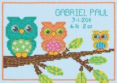 DIMENSIONS-Counted Cross Stitch: Owl Birth Record. The perfect gift for the newest family addition. Detailed design is easy to stitch and can be personalized for boy or girl. This package includes pre