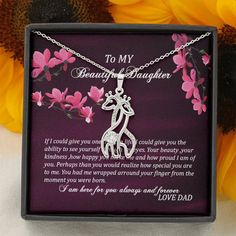 Dad Daughter Necklace - A Unique Giraffes Necklace - Gift For Daughter – ShineOn Graduation Necklace, Graduation Gifts, Christmas Gift Daughter, Christmas Gifts, Giraffe Necklace, Love Dad, Daughter Necklace, Dad Daughter, Forever Love