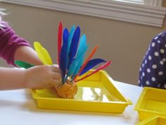 Present play dough with feathers at Thanksgiving time and watch those turkeys fly!