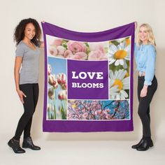 Love Blooms Fleece Throw Blanket. This Love Blooms fleece blanket comes in three sizes. It's the perfect gift for gardeners, young lovers or just to add color and freshness to your space. #throwblanket #blanket #purple #flowers  #fleece