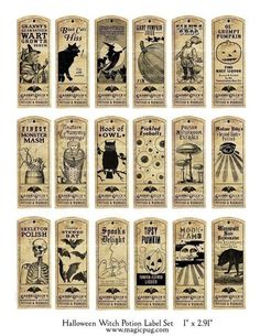 Halloween Witch Potion Label digital collage sheet bat cat holiday wicca x labels – Best Hallowen Retro Halloween, Halloween Potions, Halloween Tags, Holidays Halloween, Halloween Crafts, Happy Halloween, Halloween Clothes, Costume Halloween, Halloween Apothecary Labels