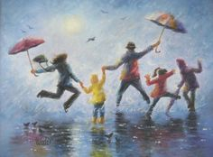 Singing in the Rain art print, happy family, playing, rain, rain paintings, umbrellas, leaping, family of five painting