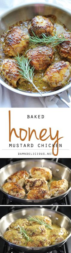 Baked Honey Mustard Chicken - The creamiest honey mustard chicken ever! It's so good, you'll want to eat the honey mustard itself with a spoon!