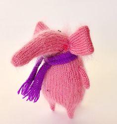 Pink elephant - elefante de peluche juguete Animal peluche lindo silvestre del juguete elefante de Amigurumi Toy miniatura estatuilla de elefante hechos a mano de lana de punto