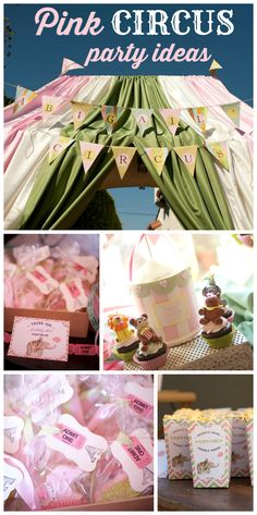 A pink circus girl birthday party with circus food, pink circus animal cookies, a petting zoo and pony rides!  See more party planning ideas at CatchMyParty.com!