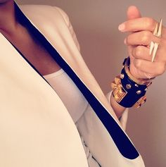 chic white blazer, tough jewelry
