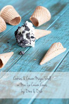 Cookies & Cream Magic Shell on Mini Ice Cream Cones from @Kristen @DineandDish