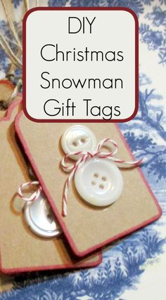 Christmas Gift Tags – Button Snowman This Kids Christmas craft is so adorable and so easy to make. You will need blank gift tags or you can use card stock and cut them out by hand (square is okay) White buttons in two different sizes … Holiday Gift Tags, Handmade Christmas Gifts, Christmas Gift Wrapping, Christmas Gifts For Kids, Christmas Snowman, Christmas Diy, Button Christmas Cards, Diy Gift Tags, Christmas Present Tags